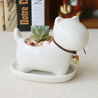 Cute Dog White Ceramic Planter Succulent Plants Flower Pot