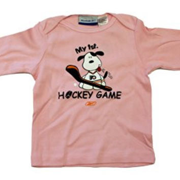 "NHL Officially Licensed Philadelphia Flyers Pink Infant ""My first Hockey Game"" Long Sleeve T-Shirt (12 Months)"