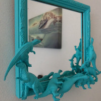 teal blue dinosaur mirror