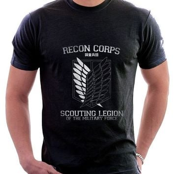 Cool Attack on Titan Tops Summer Cool Funny T-Shirt AOT  Recon Corps Printed Cotton T-shirt 9707 Print T Shirt Men AT_90_11