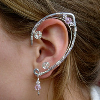 An Elegant  Pair of Elf Ear Cuffs ,Aluminum, Silver and Pink Glass and Clear Swarovski Crystals, Faerie Ear Wraps, Fairy, Elven, Renaissance