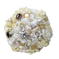 Elegant Fabric Bouquet with decorated Rhinestone, Beads, buttons and ribbons.