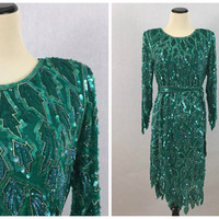 Kelly Green Sequin Cocktail Dress - Size Medium Beaded Sequin Dress - Vintage 80s Does 20s Party Dress