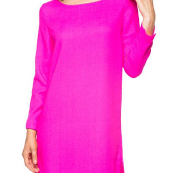 Long Sleeve Shift Dress. - Hot Pink