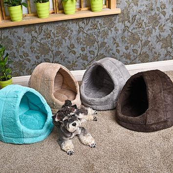 Removable Warm Pet Dog Bed Cotton Cat Bed Pet Cat Cave House Lovely Soft Cat Bed Cave Solid Warm Pet Products