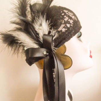 black, white, lace, 20s, festival, gypsy, pirate, feather, gatsby party, ladies headband, headpiece, hair