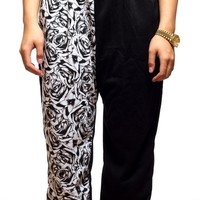 (UNISEX) Black & White Rose Joggers from ThugAve