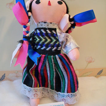 Ethnic Mexican Cloth Doll Handmade Folk Art
