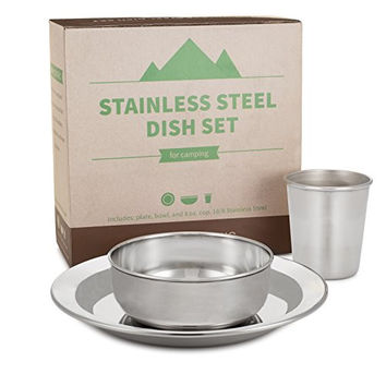 Compact Stainless Steel Dish Set for Home and Outdoor Use, with Small Plate, Bowl, and Cup - BPA Free - by HumanCentric