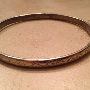 Vintage Alpaca Silver Bracelet Mexican Bangle Mexico Jewelry