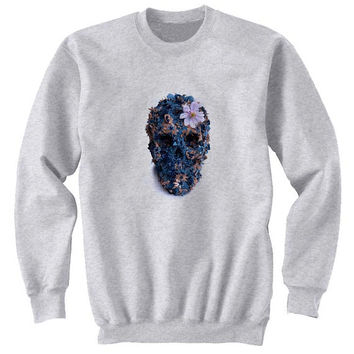 skull flower sweater Gray Sweatshirt Crewneck Men or Women for Unisex Size with variant colour