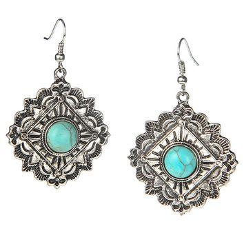 Women's JWest and Company Burnished Silver Square with Turquoise Stone Earrings