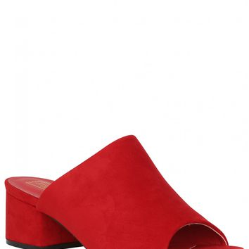 Say My Name Block Heeled Mules In Red Faux Suede