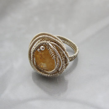 Gemstone Wire Wrapped Ring by studiodct on Etsy