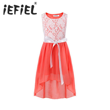 iEFiEL Kids Girls Flower Lace Dress for Party and Wedding Bridesmaid Floral Girl Dress Ball Gown Prom Formal Dress 4-14Y