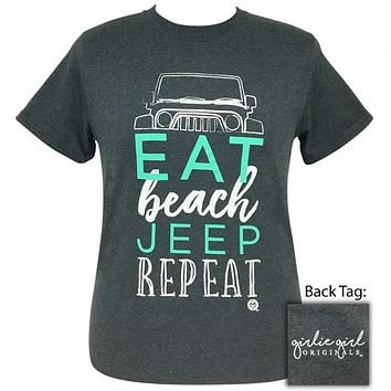 Girlie Girl Originals Preppy Eat Beach Jeep Dark Heather T-Shirt