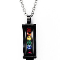 Stainless Steel Rainbow Crystal Pendant Necklace for Gay  Pride,Free Chain 20 inch
