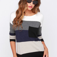 Hot Cocoa Navy Blue and Black Striped Sweater