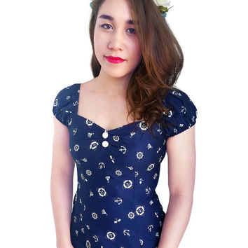 Pin Up Top Nautical Top Navy Blue Sailor Top Anchor Retro Top Vintage Gypsy Rockabilly Top 1950s Top Clothing Summer Top Bridesmaid  Dress