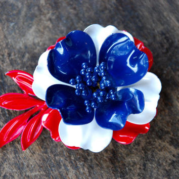 Vintage Enamel Flower Brooch Red White Blue America Patriotic Three Dimensional 1950's 1960's // Vintage Costume Jewelry
