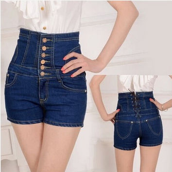 2016 new women's summer plus size denim cowboy hot shorts woman high waist slim hip jeans shorts S-5XL free shipping