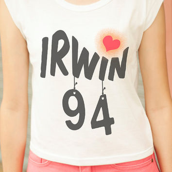 Irwin 94 TShirt 5SOS Shirt Ashton Irwin TShirt Women Screenprinted Graphic Muscle Tee Tank Hipster Crop Top