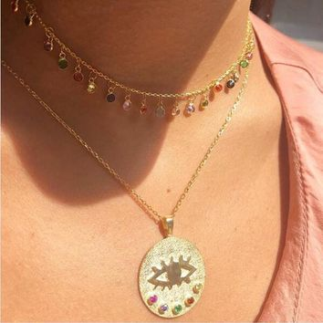 Women Lucky Evil Eye Gold Necklace