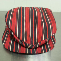True Vintage Union Made Newsboy Cabbie Hat Linen Striped Red Black White Size Small 6 3/4 Made in USA Drivers Cap Hipster