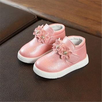 Spring Autumn Children Casual shoes Fashion Flower Girls Flats Outdoor Sneakers Kids Loafers Hook & Loop Sport shoes 02B