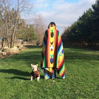 Vintage 1970's Mexican Native American Rainbow Striped Pisces Fish Blanket And Rug    Navajo Boho Hippie Serape Blanket . Size 43 x 80
