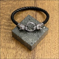 Norse Mythology Inspired Hellhound Ends Braided Leather Bracelet with Ancient Design Spring Clasp
