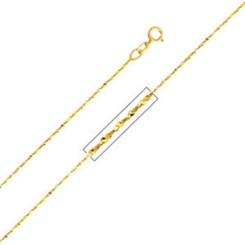 "14K Yellow Gold 0.9mm Twist Serpentine Chain Necklace with Spring Ring Clasp (Length: 18""""; Weight: 0.9 Grams approx)"