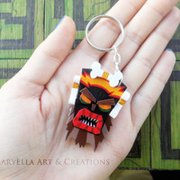 Made to order - Crash Bandicoot - Uka Uka wood keychain