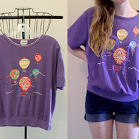 Vintage Hot Air Balloon Purple Blouse