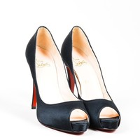 HCXX Black Christian Louboutin Satin   Very Prive   Peep Toe Platform Pumps