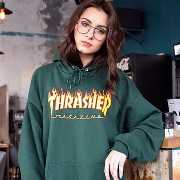 Thrasher Unisex Fashion Long Sleeve Hoodie Letter Print Pullover Top Sweater