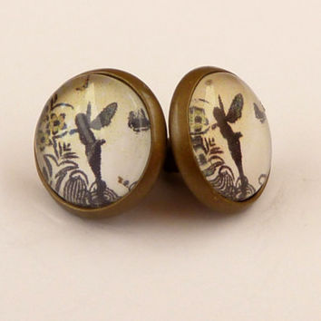 Round stud earrings in bronze with silhouettes fairy in black and yellow, Fantasy Studs, fairytale Earrings, girls earrings
