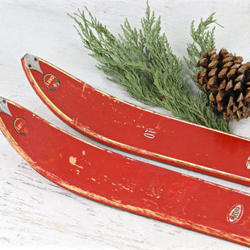 Vintage Wooden Snow Skis, Red Snow Skis, 1950's Antique Snow Skis, Old Wooden Snow Skis, Cabin Decor, Ski Lodge Decor, Rustic Snow Skis