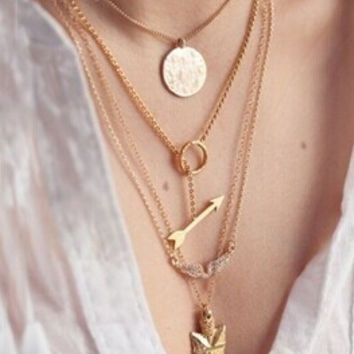 Womens fashion angel wings arrow scale hanging piece multilayer exaggerated Necklace Gift