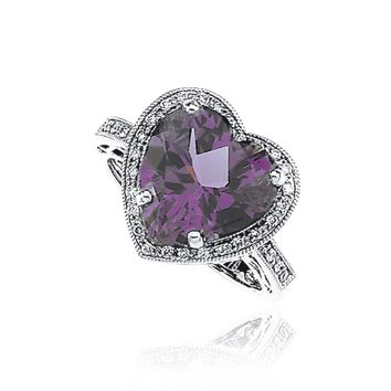 Heart Shaped Amethyst & 1/6 Ctw Diamond Ring in 14k White Gold
