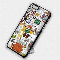 Collage Quote Central Perk Friends TV Show - iPhone 7 6 5 SE Cases & Covers