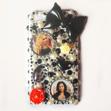 Demi Lovato Black and White Pearl iPhone 4 4S Sparkle Bling Case Cover