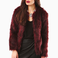 Dominga Red 10 Chunky Collarless Faux Fur Coat at Fashion Union