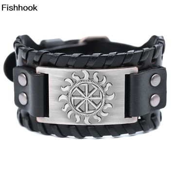 Fishhook Newest Punk Kolovrat Sun Power Round Leather Buckle Wide Black Bracelet Male& Female Accessories Love Gift
