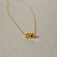 Gold XO necklace - gold filled hugs and kisses charm - romantic holiday gift - simple everyday jewelry - littleglamour - Cristina