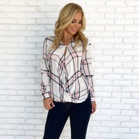 Cross The Line Plaid Wrap Top