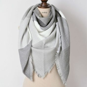 Gray Color Block Blanket Scarf