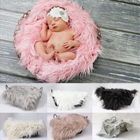 Baby Newborn Faux Fur Photography Photo Props Blanket Basket Stuffer Rug Beanbag Background Backdrop [8322980609]