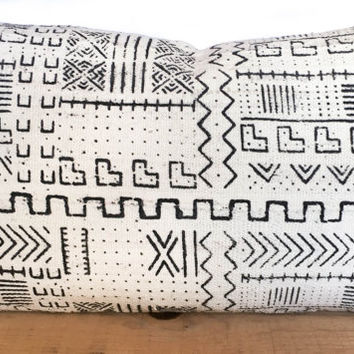 "12x20"" Inch White African Mud Cloth Pillow Cover"