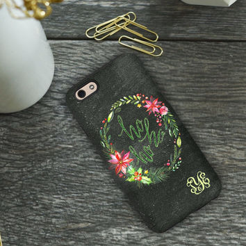 Christmas Iphone 6 case, Ho Ho Ho with watercolor Christmas wreath, Holiday Iphone 6s case, Xmas Iphone 6s case  (1604)